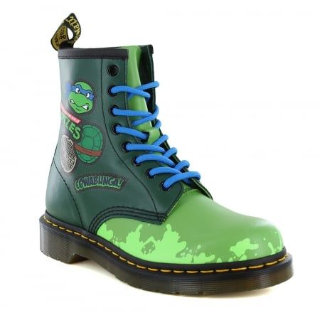 Dr Martens Leo J Teenage Mutant Ninja Turtles Kids Leather 8-Eyelet Boots -  Green