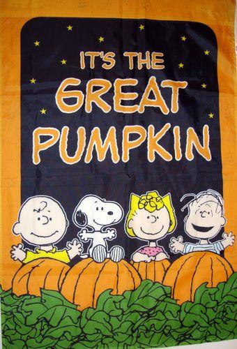 Charlie Brown Peanuts Halloween Garden Flag Itu0027s The Great Pumpkin Snoopy  Linus