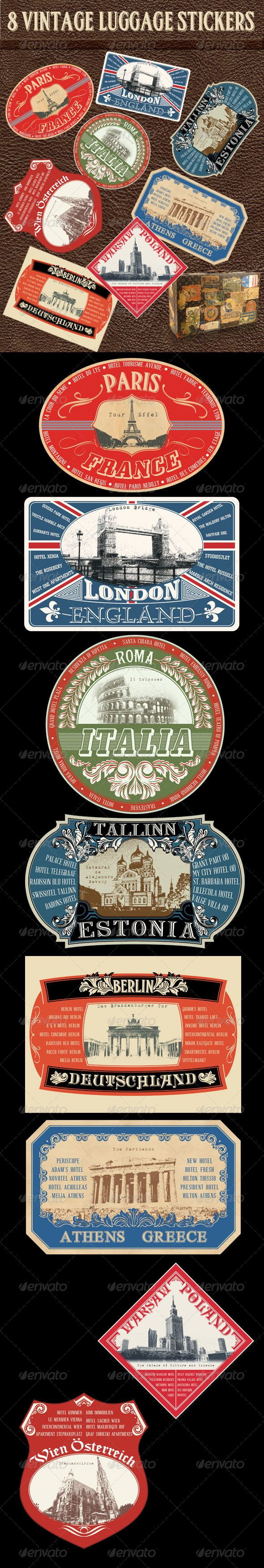 8 Vintage Luggage Stickers #GraphicRiver This is a collection of 8 professional designed Vintage luggage stickers for any tourism, vacation, travel web site and print. All Photoshop files are easily layered and editable. They are all in high resolution