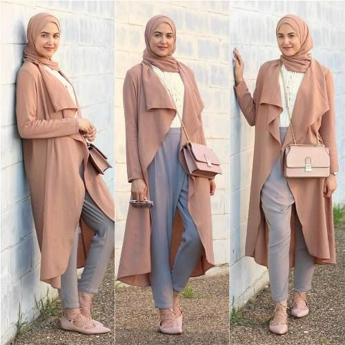 long waterfall blush cardigan hijab- Trendy hijab outfits http://www.justtrendygirls.com/trendy-hijab-outfits/