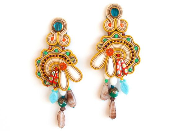 early fall / multicolor handmade soutache earrings made in soutache embroidery technique.