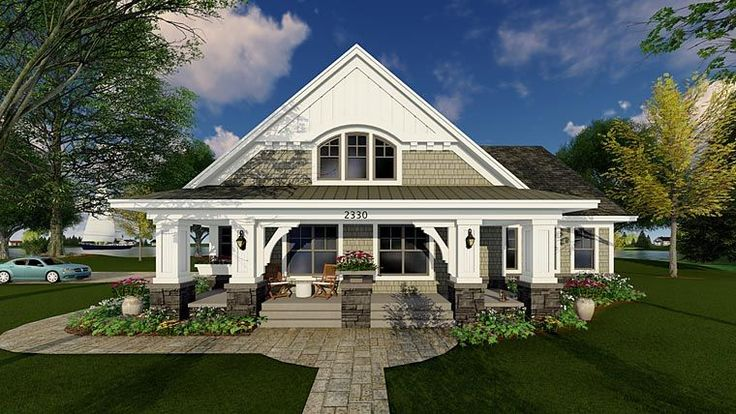 House Plan 42618 | Bungalow Cottage Craftsman Traditional Plan with 1866 Sq. Ft., 3 Bedrooms, 2 Bathrooms, 2 Car Garage
