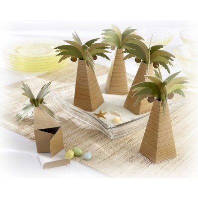 "Palm Tree Favor Box with Multi-dimensional Detail (Set of 24) | Nuptial Knick Knacks      Bring a taste of the tropics to your destination wedding tables with these Palm Tree Favor Boxes-as delightful and memorable as a soft, ocean breeze. Atop a trunk waiting to be filled with treats are perfect palm fronds in sultry shades of green and ripe coconuts ready to be picked. The palm tree favors measure 5 1/2"" x 3 1/2"" and are sold in sets of 24. Some assembly is required."