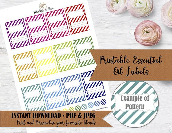 Printable Essential Oil Labels  10ml Rollerball Labels Stripe