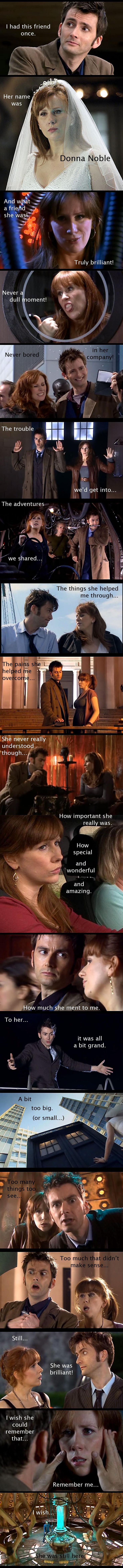 Donna Noble. Excuse me while I'm reduced to a pile of sobbing tears. - she is my second favorite companion