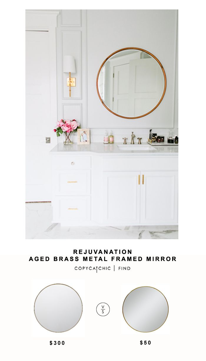 @rejuvenationinc Rejuvenation Aged Brass Metal Framed Mirror for $300 vs Target Threshold Round Brass Mirror $50 | Copy Cat Chic look for less budget decor