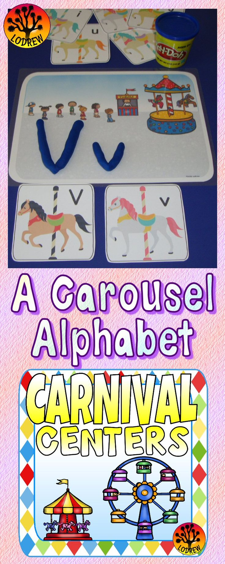 205 pages of centers for your carnival unit or amusement park theme. Carnival activities include math, literacy, logic, cardinality, beginning sounds, letter matching, letter order, base ten blocks, counting, subitizing, fine motor, bundle, ordinal numbers, shapes, tally marks, spelling, writing, color words, and more. For kindergarten, preschool, SPED, child care, homeschool, or any early childhood setting.