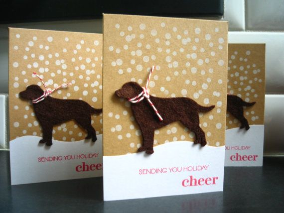 Dog Holiday Cards Set of 3 Labrador Christmas by apaperaffaire  I haven't sent Christmas cards in a while....may have to start again