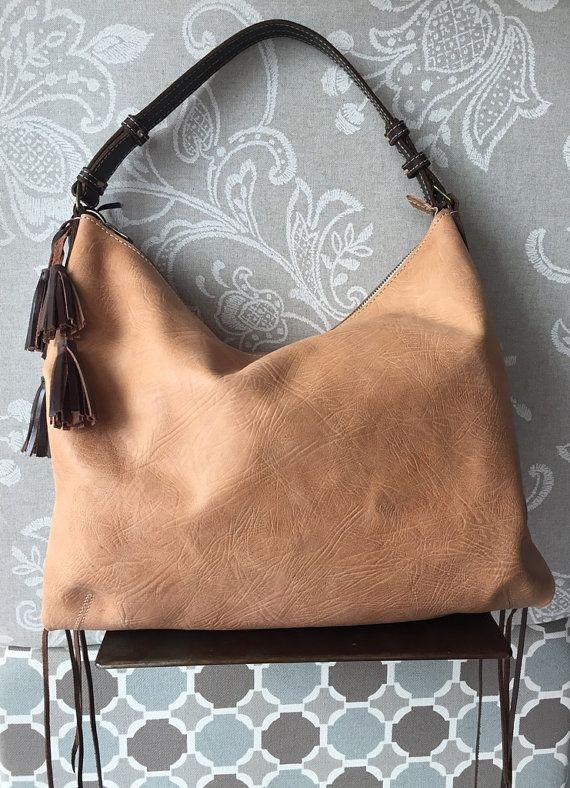 Brown leather hobo bag Leather purse Tan leather bag by Percibal