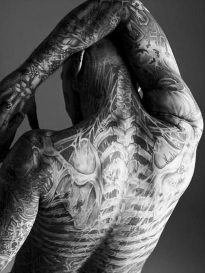 Rick Genest (Zombie Boy). Back. Tattoos.