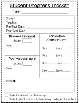 DATA TRACKING SHEETS - TeachersPayTeachers.com pre-test  - post-test data comparison