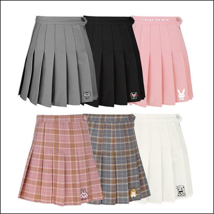 Cute Women Girls Japan Anime Kumamon Bear Dva School Pleated Short Skirt Dresses