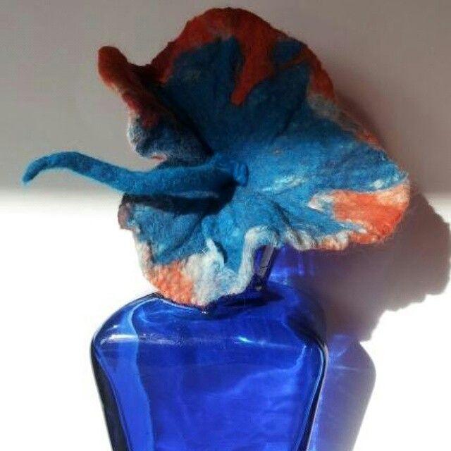Textile Art of Jill Felt Flower in Glass Vase