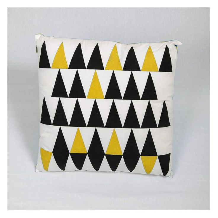 Sulphur & Black Geometric Cushion - www.koop.co.nz