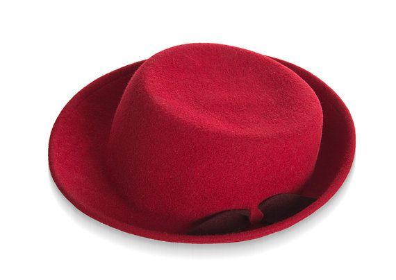 HAT ON SALE, Red Felt Hat For Women, Women Winter Hat , Franky