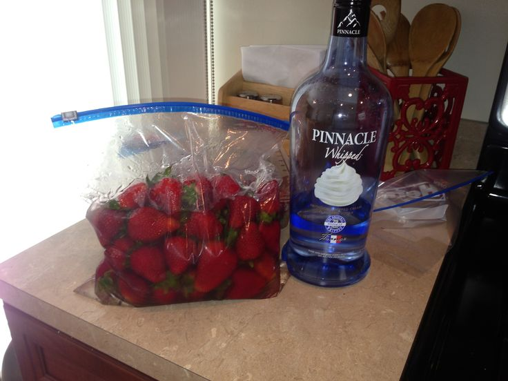 Whipped vodka soaked strawberries (24 hours) ....remove from Ziploc, let them air dry then dip in choc..... Holy cow its delicious!!! Only thing I'd do different is remove green part... The vodka it sits in works well for strawberry whip cream vodka on the rocks... Happy soaking :)-