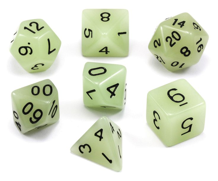 Glow In The Dark Dice (Ghost Green) RPG Role Playing Game Dice