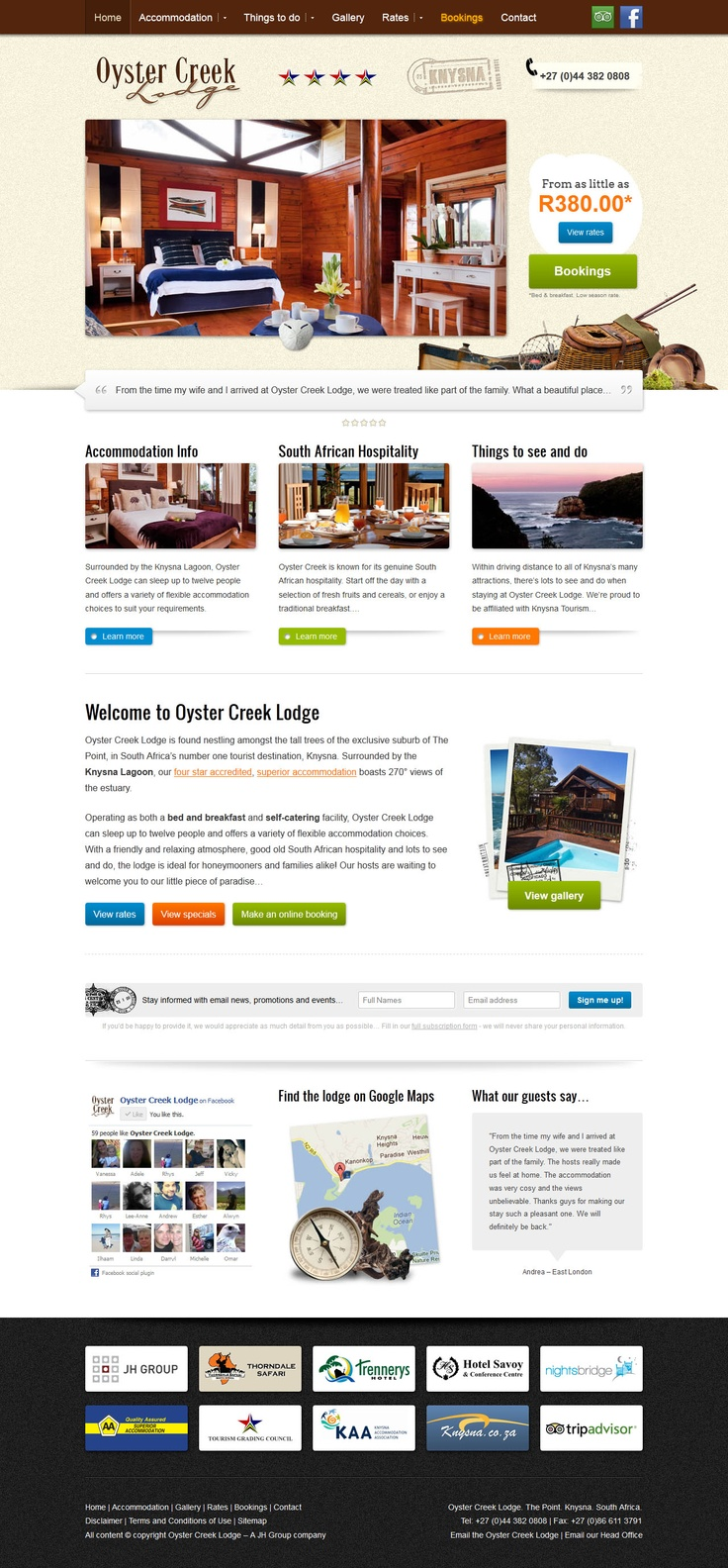 Website design for Oyster Creek Lodge in Kynsna, Garden Route.