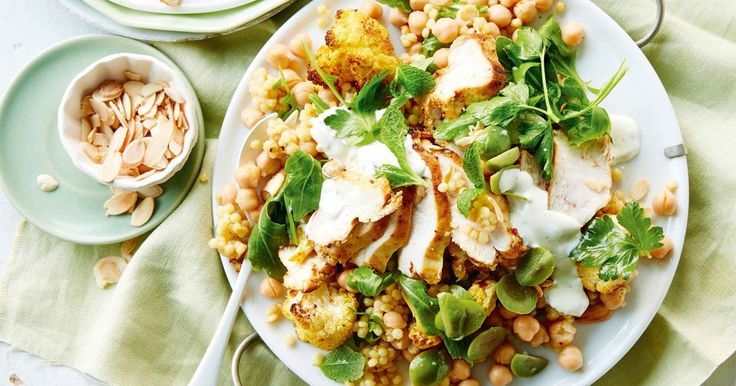 Try this delicious chicken salad made with pearl couscous and roasted cauliflower.