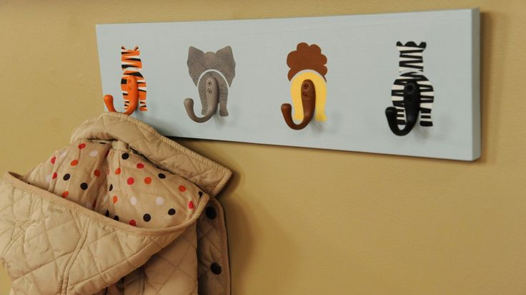 Decorate a baby's nursery with this wildly adorable coat rack. To add texture, like fur, to your creatures, apply paint over the base coat using a stippling brush.