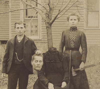 """vintage everyday: Headless Portraits From the 19th Century A number of Victorian photographers combined images from more than one negative to create illusions or novelty portraits. """"Headless Photographs"""" featured men and women with """"their heads floating in the air or in their laps""""."""