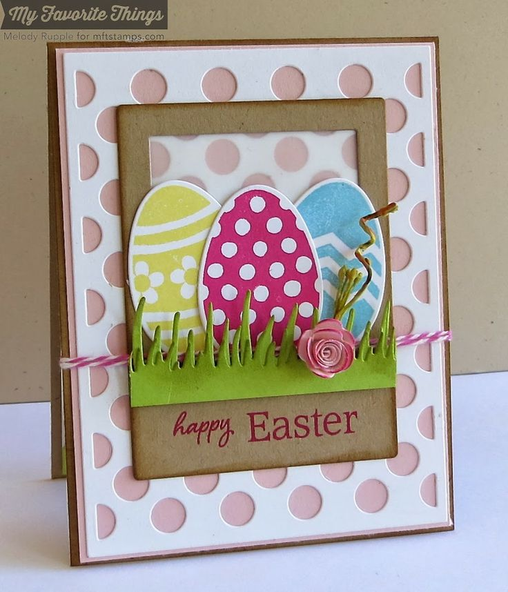 Easter card - påske kort - A Paper Melody: Shabby Tea Room Week #208 - Pretty Polka Dots