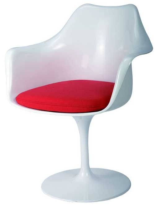 Replica Eero Saarinen Tulip Armchair - Plastic, Fabric Cushion main image