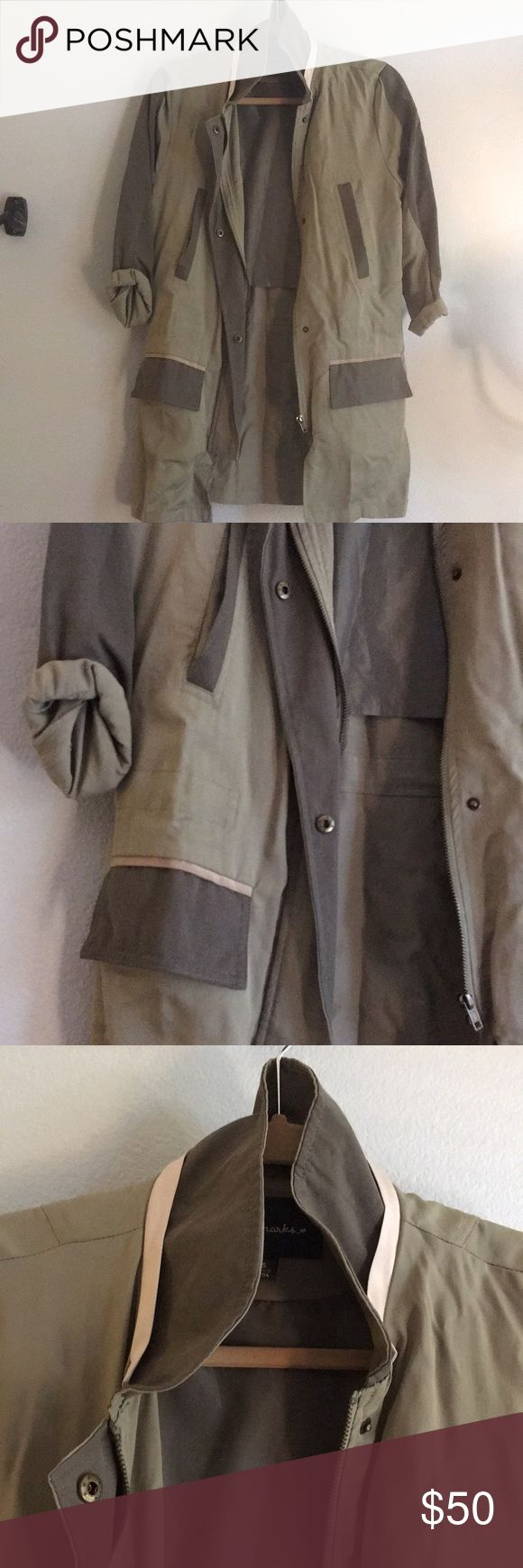 Army Green Trench Raincoat This cute rainy day jacket is warm and also stylish. Raincoats don't have to be ugly! Jackets & Coats Trench Coats
