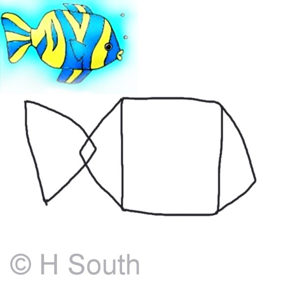 Draw a tropical fish draw the basic shapes tropical for Cartoon fish drawing