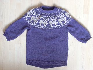 This sweater is a top-down stranded pattern for cat lovers.