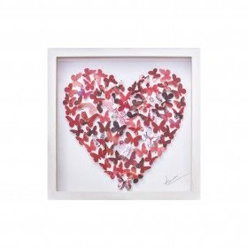 Each tiny butterfly is hand drawn and then intricately hand cut from vibrant shades of red paper. The butterflies are carefully placed to form a simple heart shape of butterflies. A gorgeous, 3 dimensional picture.  Available from miratis.com