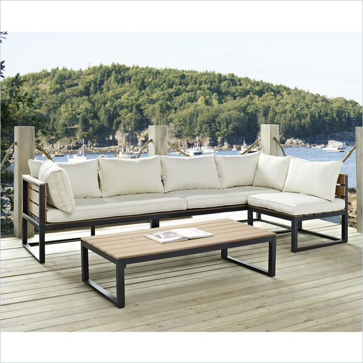 Walker Edison 4 Piece Outdoor Conversation Set with Cushions in Natural and Black - Find it at Cymax!