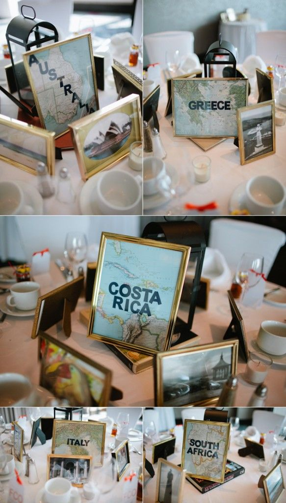 Diana & Joris Wedding - Travel themed Wedding table decor - Pinnacle Hotel at the Pier