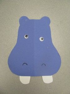 preschool hippo craft. add string or stick and cut holes out for