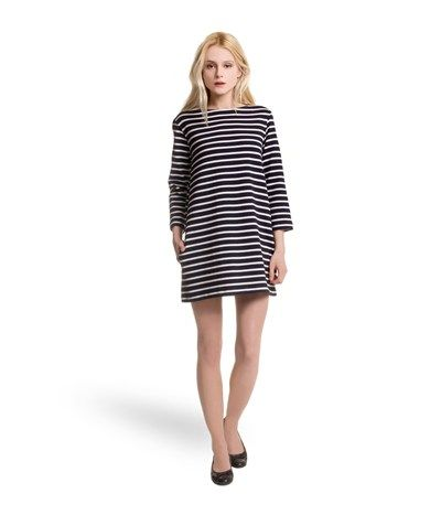 Women's sailor-striped dress in heavy jersey blue Abysse / beige Coquille - Petit Bateau