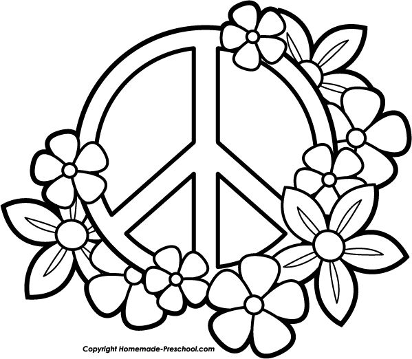 Printable Coloring Pages Peace Hearts | Fun and Free Peace Sign Clipart