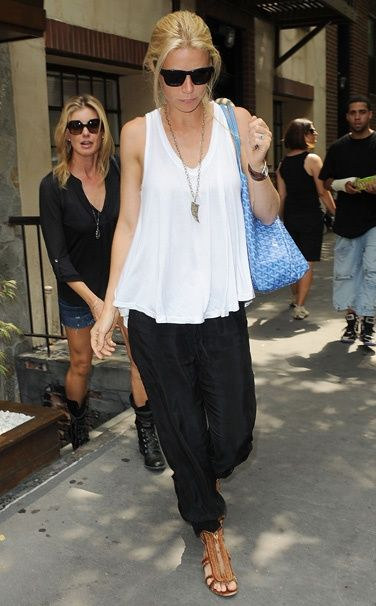I love this casual outfit. Loose yet pulled together. Perfect for running errands in the city or taking on vacation with the flat, yet cool sandal. The long pendant with this look keeps it from being too plain (as do those sandals). so european