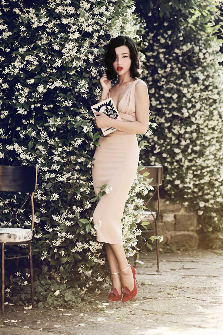Luisaviaroma II by Gary Pepper wearing Dsquared Dress, Casadei Heels, Olympia Le-Tan Clutch