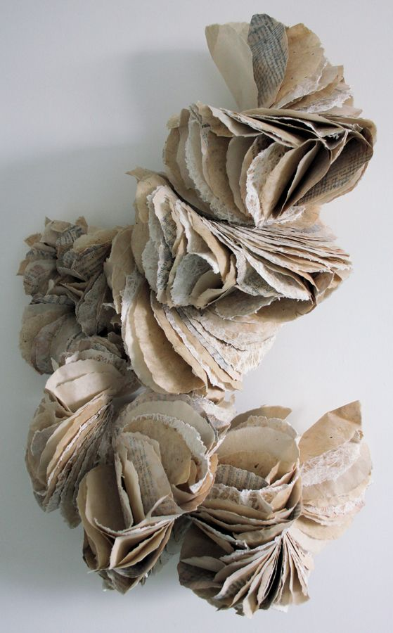 "Ann Goddard ""Ecotype"" Lokta paper, Mitsumata paper, printed-paper, paper yarn, wax, gesso; 50 x 84 x 26 cm. Wall hung sculpture."