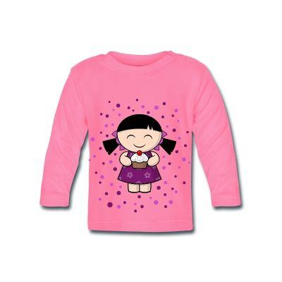 Suave camiseta de manga larga para bebés con botones en el cuello, 100 % algodón,   #mycshopspreadhirt #mycshop #tshirtbaby #camisetabebe #pinkshirt #fasionbaby #niñaadorable #pastel #kidadorable #fasionkid