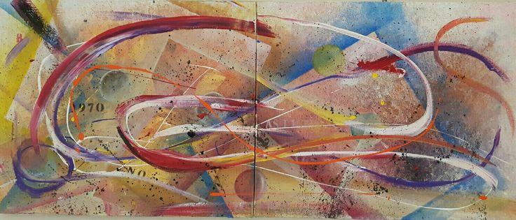 Autore. Nicola soriani  Titolo. 1970 Anno. 2016 Tecnica mista su tela Dimensioni.  120 x 40 cm  (dittico)