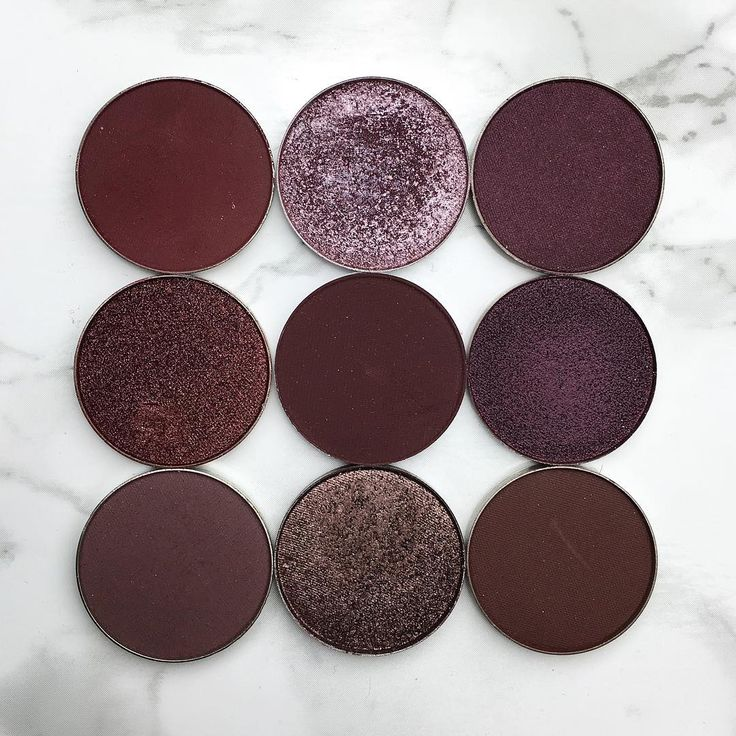 "From left to right  MUG ""Cherry Cola"", ABH ""Macaroon"", ABH ""Aubergine"" MUG ""Showtime"", ABH ""Beauty Mark"", ABH ""Rosette"" MUG ""Vintage"" , ABH ""Chocolate Crumble"", ABH ""Hot Chocolate"""