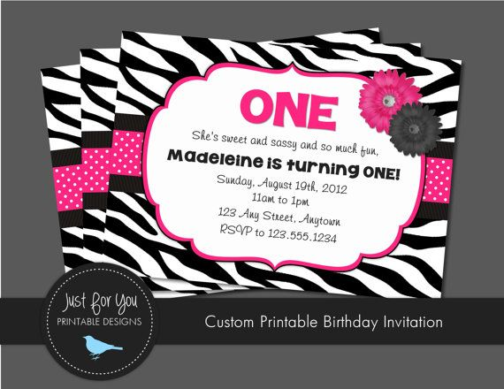 Zebra Print Birthday Invitation - Hot Pink, Black, White - Birthday Printables by Just For You Printable Designs