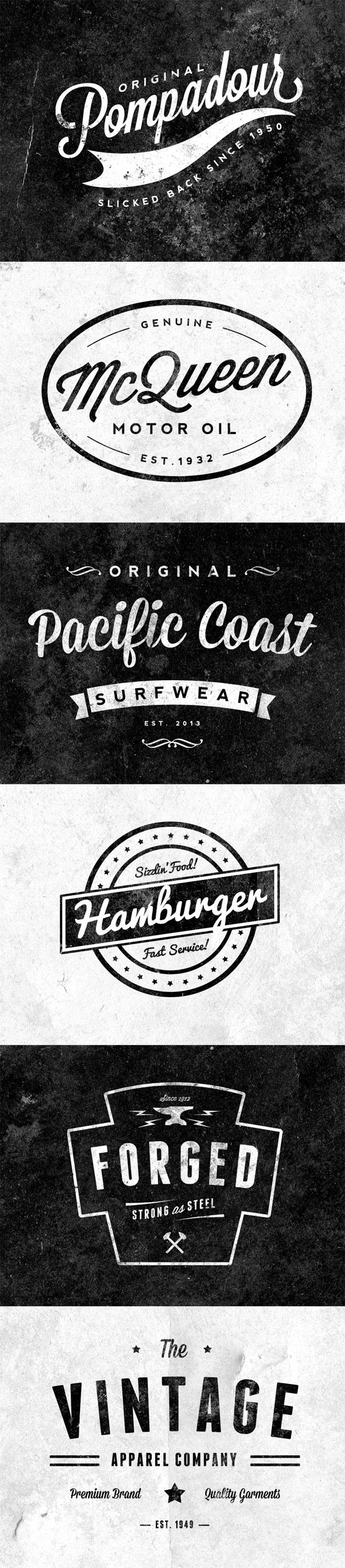 Free - Quickly and easily create yourself a retro/vintage style logo with these 6 free customisable insignias.