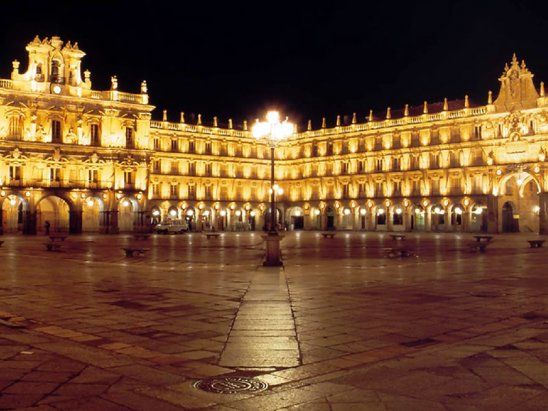 ...go back to the Plaza Mayor, Salamanca, Spain. I walked through this nearly EVERY DAY while studying abroad. It's beautiful in every sense of the word. (Not my words, but I did the same and totally agree.)