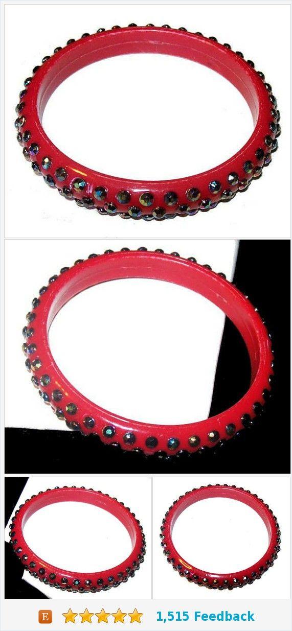 "Red Celluloid Bangle Bracelet Aurora Borealis Rhinestones 1/2"" W Vintage 1940s Art Deco https://www.etsy.com/BrightgemsTreasures/listing/578489820/red-celluloid-bangle-bracelet-aurora?ref=listing-shop-header-1"