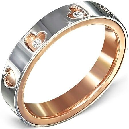 $69 each cubic couple ring ip rose gold steel with cubic zirconia. Available at Aquamarine Jewelry www.aqj.ca