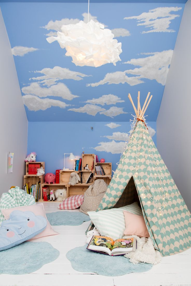 Little daydreamers can have their heads in the clouds all day long in this storybook themed bedroom. Create this blue sky paint effect with Blue Babe, Goose Down, Polished Pebble and Jasmine White