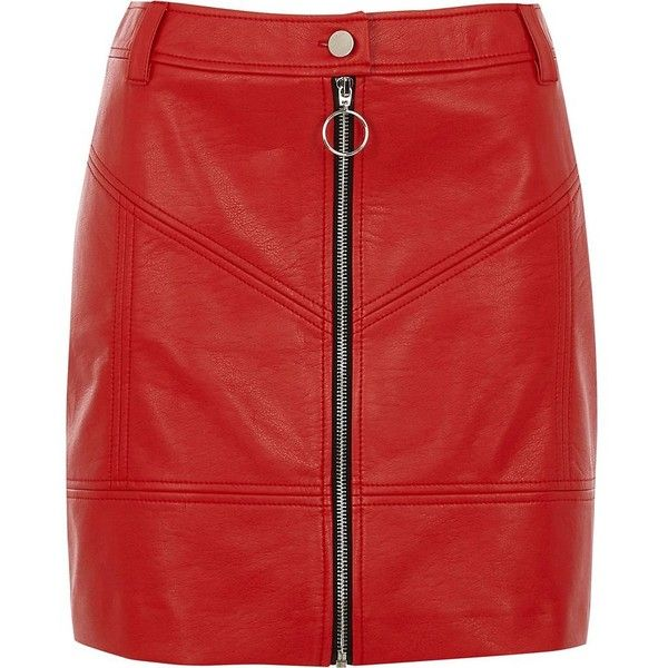 River Island Red faux leather zip front mini skirt ($64) ❤ liked on Polyvore featuring skirts, mini skirts, bottoms, red, women, short mini skirts, zip front skirt, red miniskirt and red short skirt