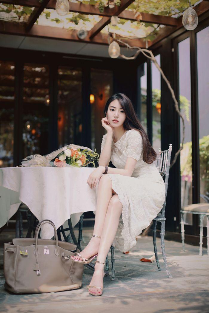 #milkcocoa daily 2016 white lace dress feminine classy look(MT)